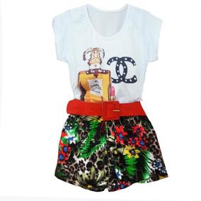 Conjuntos Femininos Blusa T-shirt E Short Estampado