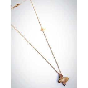 Collar Con Dije De Mariposa Chapa De Oro 18k Vogary