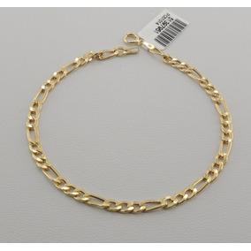 4eef9ea9089 Pulseira Masculina Fígaro 21 Cm Ouro 18k 750 Oferta Especial. R  590