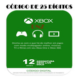 Xbox Live Gold 12 Meses Xbox 360 E One Código De 25 Digitos