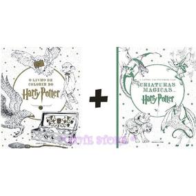 Kit Dois Livro Colorir Pintar Harry Potter Criaturas Mágicas