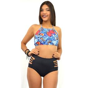 Conjunto Cropped C bojo Calcinha Alta Hot Pant Tiras R22015 2fe35f015ef66