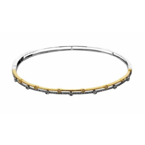 Brazalete Oro Blanco Y Amarillo Con 72 Diamantes De .28 Ct
