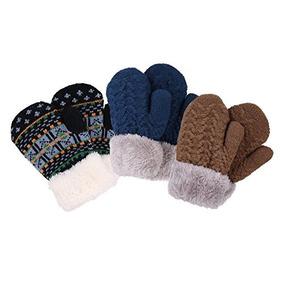 Halconia 3 Par De Ninos X26 39 Unisex Knit Winter Mittens F