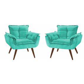 2 Poltrona Opala Decorativa Sala Azul Turquesa
