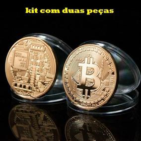 Kit Com 2 Peças Moeda Bitcoin Física - Banhada A Ouro