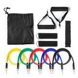 Kit Elástico P/ Exercícios 11 Peça Musculação Pilates Fitnes