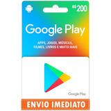 Cartão Google Play Gift R$200 Reais (100+100) Br Imediato