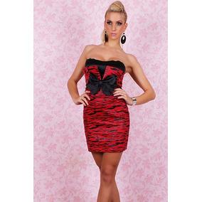 7dc4602a0e Sexy Mini Vestido Rojo Strapless Brilloso Spandex Wetlook - Vestidos ...