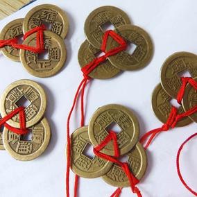 Kit Com 2 Pingentes 3 Moedas Feng Shui,sorte,prosperidade