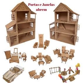 Casa Casinha Boneca Polly De Mdf C/móveis,parque E Carro Cn4