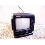 Mini Tv Televisor Radio Portátil Silver Crown Nuevo Negro