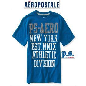 Playera Nino 10 Anos P.s. Aeropostale Azul Logo Bordado Ve!!