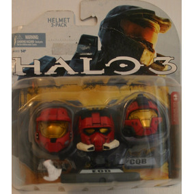 Halo 3 Set De 3 Minicascos Coleccionables Team Red