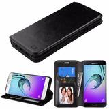 Estuche Cuero Wallet Stand Negro Para Samsung Galaxy A7 A710