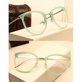 Armação De Luxo Redonda Para Óculos De Grau - Verde E 5461a1e51f