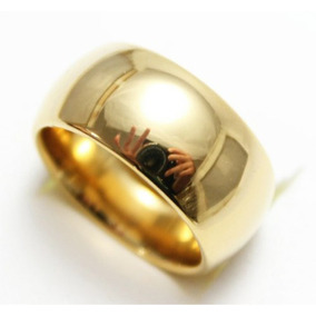 Aliança Tungstênio 10mm Folheada Banhada Ouro