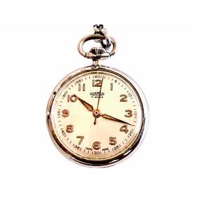 e29882a3fa4 Antigo Relógio De Bolso Suíço Lapela Grife Roamer 17 Rubis
