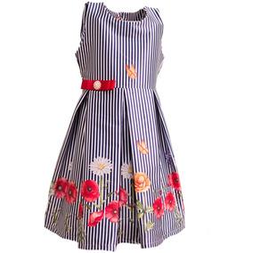 218370bcdf Vestido Infantil Listrado - Vestidos Meninas Médios no Mercado Livre ...