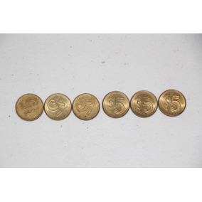 6 Monedas De $5 Pesos México Antiguas 1985-1988 Auténticas