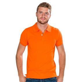 Playeras Polo Hombre Casual Moda Naranja Lisa A90100
