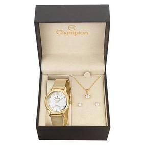 Relógio Champion Feminino Cn29007w + Colar E Brincos