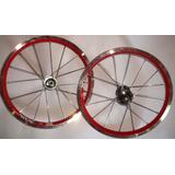 Par De Rodas De Aluminio Para Bike Aro 16 Vermelho