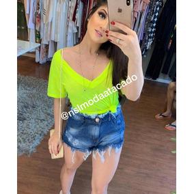 Blusa Feminina Podrinha Carnaval Cores Neon Blogueira Básica