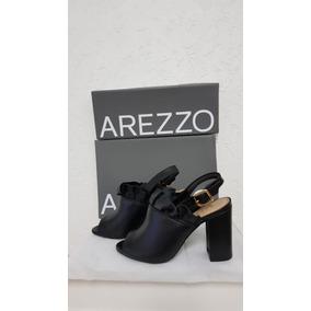Sandália Salto Alto Couros Mestiço Preto - Arezzo