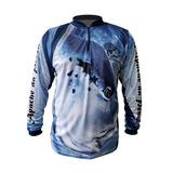 Camisa Ziper Azul Proteção 35+ Apache Da Pesca