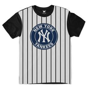 Camiseta De Baseball Listrada - Camisetas Manga Curta no Mercado ... f1d6614d20e5e