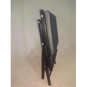 Cadeira Almofadada Preta Metal Dobrável Desmontável