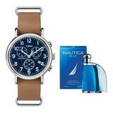 Reloj Timex Tw2p62300 Con Perfume Nautica Envio Gratis