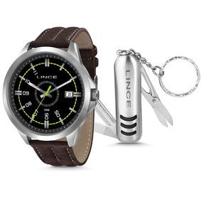 Relógio Lince Aço Prata Visor Preto Pulseira Couro Mrc4363s