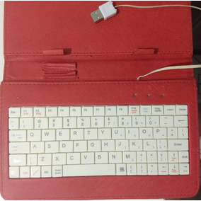 Capa Com Teclado Usb Para Tablets 7 Polegadas Vermelha