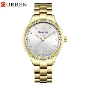 Relógio Feminino Dourado Curren A Prova D´água Original