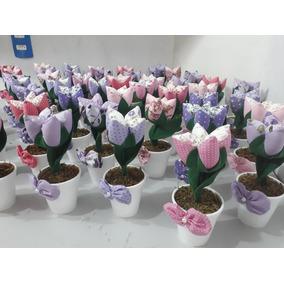25 Vasinho Com Tulipa Abertas Em Tecido ( Lembrancinha )