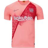 70038a9439 Camiseta Barcelona Terceira Camisa Oficial Rosa 2018 Oficial