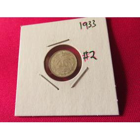 Moneda 10 Centavos 1933 Ley .720 Troquel Roto #2