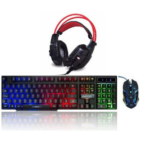 Kit Gamer Teclado Semi Mecânico Usb Abnt 2 + Mouse + Headset