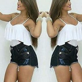 Body Feminino Babado Roupas Femininas Decote Lateral Lindo