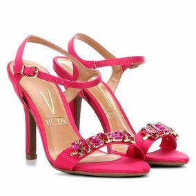 Sandália Vizzano Salto Fino Aplique Pedrarias Feminina Pink