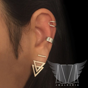Piercing Fake Cartilagem Duplo Fino Pressão Prata 925