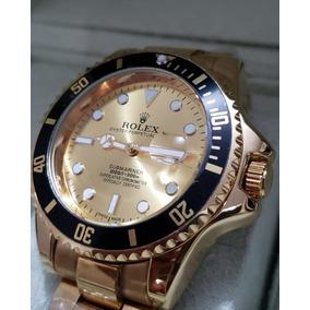 b51c47acaac Relógio Masculino Fundo Dourado Aço Pronta Entrega