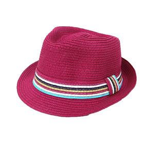 Nuevo Moda Mujeres Sombrero Paja Colorido Raya Fedora Rosa G d18b046d269
