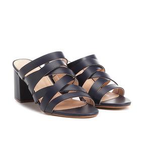 Tamanco Couro Shoestock Salto Grosso Tiras Feminino