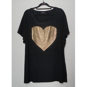 Blusa Baby Look Camiseta Plus Size Strass Metal Coração G7