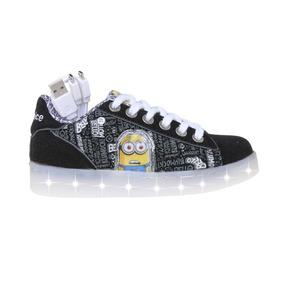Zapatillas Addnice Moda Led Usb Minions Cordon Ng/bl