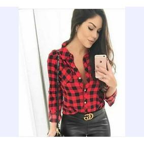 5905894645 Camisa Xadrez Rosa Feminina - Camisa Casual Manga Longa Feminino ...