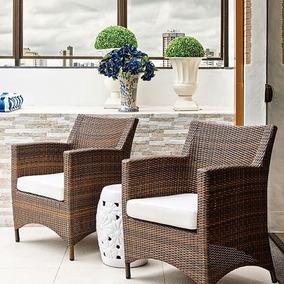 Kit 2 Poltronas Cadeiras Recepção Sala Jardim Sacada Fibra